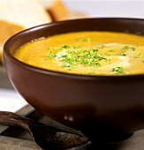 Red lentil soup with snipped chives