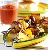 Gypsy kebab with spicy pepper sauce