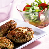 Lamb rissoles with bean and goat's cheese salad