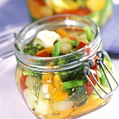 Mixed pickles in pickling jar