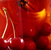 Home-made cherry vinegar with cinnamon (detail)