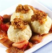 Quark dumplings with breadcrumbs & rhubarb & strawberry compote