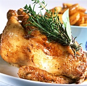 Roast chicken with bunch of herbs