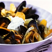 Mussel and fennel stew with blob of yoghurt