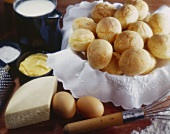 Pão de Queijo (Brazilian cheese rolls), surrounded by ingredients