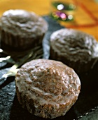 Chocolate muffins with glace icing