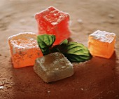 Arabic jelly cube with fresh mint