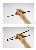 The correct way to hold chopsticks