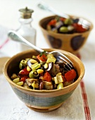 Caponata (aubergines with olives, tomatoes, pine nuts)
