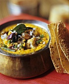 Vegetable dhal with coconut and flatbread