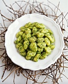 Basil gnocchi on white plate
