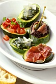 Antipasto di zucchini (Courgette slices with different toppings)