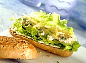 Tuna baguette with chive mousse and grated apple