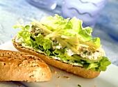 Thunfischbaguette mit Schnittlauchcreme und Apfelraspeln
