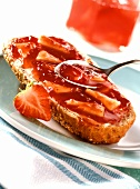 Diabetic strawberry & pineapple jam on wholemeal bread