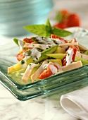 Asparagus salad with strawberries, avocado & turkey ham