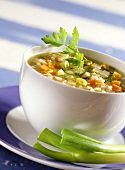 Spring soup with rice and parsley