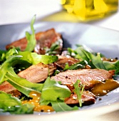 Duck breast with balsamic vinaigrette and rocket