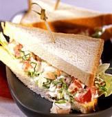 Tramezzini ai gamberetti (shrimp and tomato sandwich)