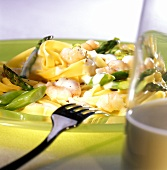 Pasta alla golosa (Ribbon pasta with green asparagus & shrimps)