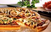 Pizza ai frutti di mare (seafood pizza, Italy)