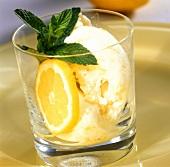 Gelato al limone (lemon ice cream with fresh mint, Italy)