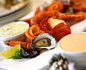 Seafood platter with two sauces