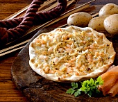 Tarte flambée with potatoes and salmon