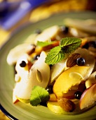 Peach salad with blueberries, almonds, sunflower seeds