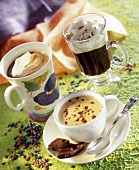 Cappuccino, Irish coffee and coffee with chocolate