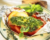 Redfish fillet with herb topping & tomatoes cooked in foil