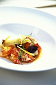 Poached lobster with vegetables and dill