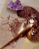 Cow painted in chocolate paint, chocolate brush & palette