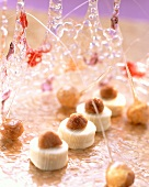 White chocolates with honey-roasted macadamia nuts