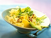 Exotic sauerkraut salad with pineapple and avocado