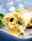 Cottage cheese and vegetable wrap with pumpkin seeds
