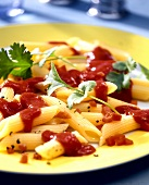 Penne with tomato and pepper sauce and coriander leaves
