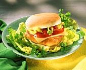 Cheeseburger with salad garnish
