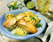 Fried salmon fillets with ribbon pasta and lime sauce