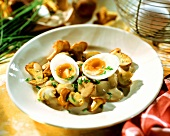 Mushroom ragout with egg and chives