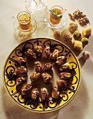 Tunisian walnut-stuffed dates and assorted chocolates