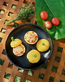 Patty pan squashes with tomato stuffing from Mauritius