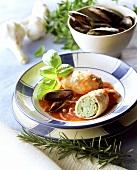 Cozze e calamari ripieni (mussels and stuffed squid)