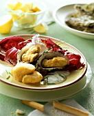 Capesante e ostriche in salsina (shellfish appetiser)