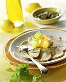 Vitello tonnato (veal in tuna sauce with capers)