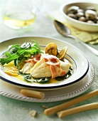 Rombo con la rucola (turbot fillets with rocket, Italy)