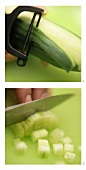 Peeling and cutting up a cucumber