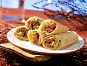 Burritos filled with rump steak and cabbage salad