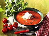 Tomato soup with cheese cream and fresh basil