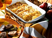 Swiss potato gratin with pears and grated cheese